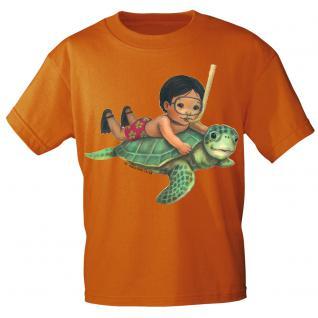 Kinder Marken-T-Shirt mit Motivdruck Schildkröte K12777 110/116 / Orange