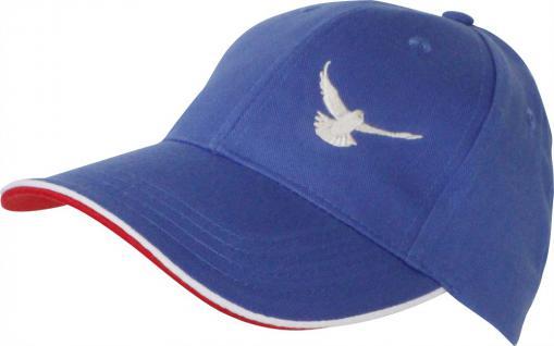 Cappy mit Tauben - Stick - fliegende Taube - TB677-4 blau - Baumwollcap Baseballcap Hut Cap Schirmmütze