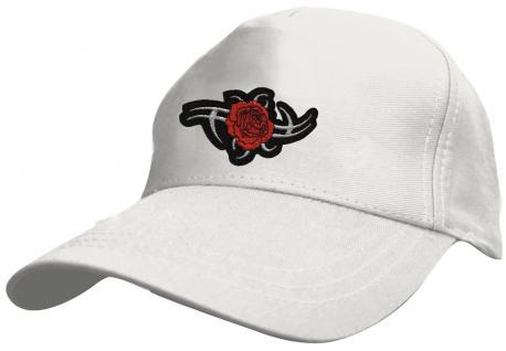 Kinder Schirm-Cap mit trendiger Bestickung - Tribal Rose - 69132 rot blau weiss gelb schwarz - Baumwollcap Baseballcap Hut Schirmmütze Cappy