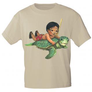 Kinder Marken-T-Shirt mit Motivdruck Schildkröte K12777 98/104 / beige