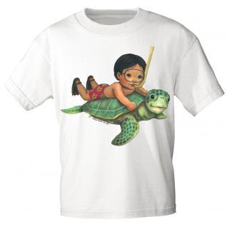 Kinder Marken-T-Shirt mit Motivdruck Schildkröte K12777 weiß / 98/104