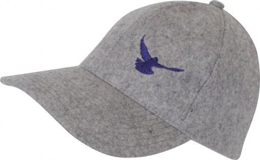Cappy mit Tauben - Stick - fliegende Taube - TB677-2 grau - Baumwollcap Baseballcap Hut Cap Schirmmütze