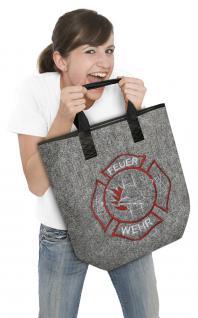 Shopper Tasche Bag Einkaufstasche Filztasche mit Stickmotiv - Feuerwehr - 26131