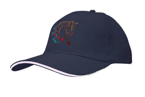 Cap mit gr. Pferde - Stick - Pferdekopf - 69244-1 blau - Baumwollcap Baseballcap Hut Cappy Schirmmütze