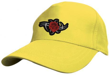 Kinder - Cap mit trendiger Tribal-Bestickung - Tribal Rose - 69132-2 gelb - Baumwollcap Baseballcap Hut Cap Schirmmütze