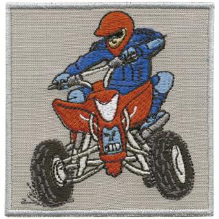 Aufnäher - Quadfahrer blau-rot - 88638 - Gr. ca. 8 x 9 cm - Patches Stick Applikation