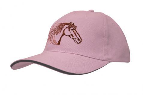Cap mit gr. Pferde - Stick - Pferdekopf - 69245-3 rosa - Baumwollcap Baseballcap Hut Cappy Schirmmütze