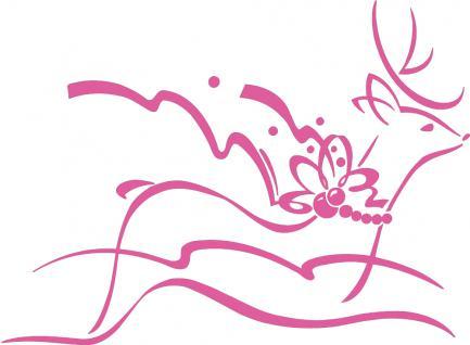 """Wandtattoo/ Dekorfolie mit Motiv """" fliegendes Rentier"""" Ø 90cm Länge max.100 cm, in 11 Farben WD0802 rosa"""