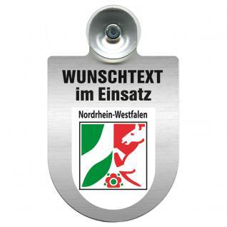 Einsatzschild für Windschutzscheibe incl. Saugnapf - Wunschtext...Eigener Text - Wappen nach Wahl - 309470 Region Nordrhein-Westfalen