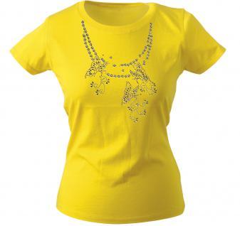 Girly-Shirt mit Print - Schmetterling - Glitzer - 12852 - versch. farben zur Wahl - Gr. XS-XXL