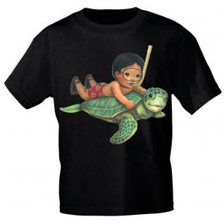 Kinder Marken-T-Shirt mit Motivdruck Schildkröte K12777 schwarz / 110/116