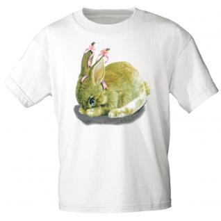 Kinder Marken-T-Shirt mit Motivdruck in 12 Farben Hase K12778 weiß / 98/104