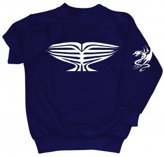 Sweatshirt mit Print - Tattoo Drache - 09031 - versch. farben zur Wahl - Gr. S-XXL blau / M