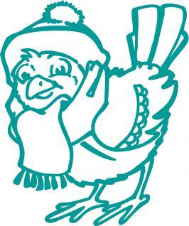 """(WD0817A) Wandtattoo/ Dekorfolie mit Motiv """" Vogel mit Mütze und Schal"""" Ø 120cm Länge max.135 cm, in 11 Farben"""