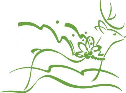 """Wandtattoo/ Dekorfolie mit Motiv """" fliegendes Rentier"""" Ø 90cm Länge max.100 cm, in 11 Farben WD0802 grün"""