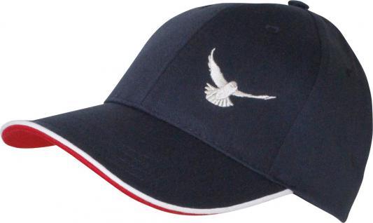 Baumwoll - Cap mit Tauben -Stickerei - fliegende Taube - TB677 navy rot grau weiss blau - Baumwollcap Baseballcap Hut Cappy Schirmmütze
