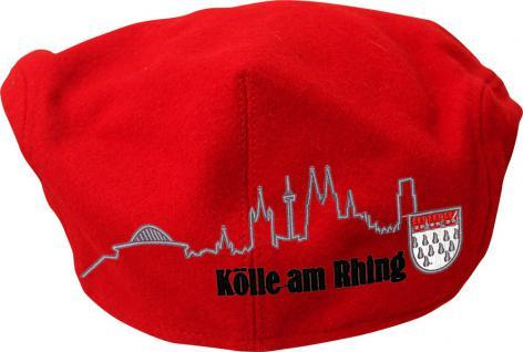 Gatsby - Mütze mit Köln - Stick vorn u. hinten - Silhouette Köln Kölsch-Wappen - 53422 rot - Baumwollcap Cap Baseballcap Schirmmütze Hut