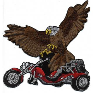 Rückenaufnäher - Bike mit Adler - 08019 rot- Gr. ca. 22 x 21 cm - Patches Stick Applikation