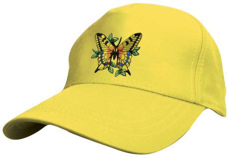 Kinder Schirm-Cap mit süssem Einstick - fliegender Schmetterling Butterfly - 69133 rot blau weiss gelb schwarz - Baumwollcap Baseballcap Hut Schirmmütze Cappy