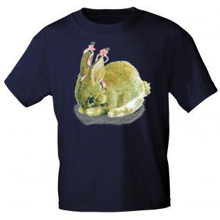 Kinder Marken-T-Shirt mit Motivdruck in 12 Farben Hase K12778 110/116 / Navy