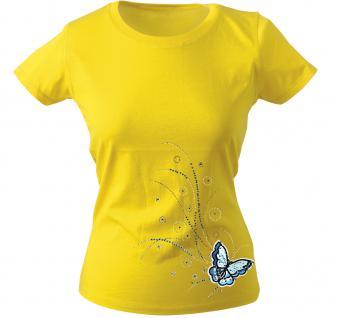 Girly-Shirt mit Print - Schmetterling - 12854 - versch. farben zur Wahl - Gr. XS-XXL