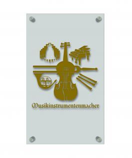Zunft- Schild, edle Acryl-Kunststoff-Platte mit Beschriftung - Musikinstrumentenmacher- in gold, silber, schwarz oder weiß - 309404 Farbe gold