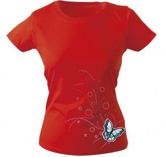 Girly-Shirt mit Print - Schmetterling - 12854 - versch. farben zur Wahl - rot / M