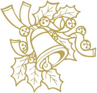 """Wandtattoo/ Dekorfolie mit Motiv """" Zweig mit Glocke"""" Ø 90cm Länge max. 100 cm, in 11 Farben WD0801 gold"""