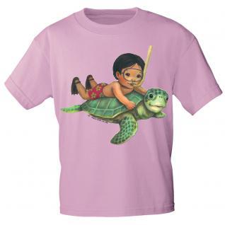 Kinder Marken-T-Shirt mit Motivdruck Schildkröte K12777 rosa / 98/104