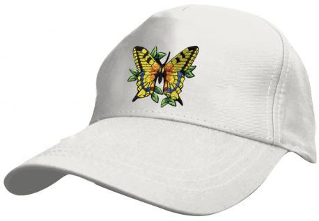 Kinder - Cap mit buntem Schmetterlings-Bestickung - Butterfly Schmetterling - 69133-4 weiss - Baumwollcap Baseballcap Hut Cap Schirmmütze