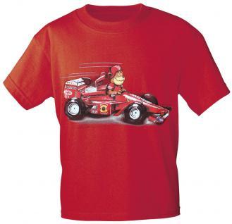 Kinder T-Shirt mit Aufdruck - Bärchen im Rennwagen - 08229 - rot - Gr. 122/128