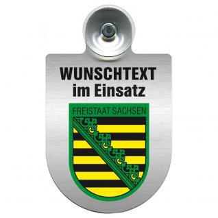 Einsatzschild für Windschutzscheibe incl. Saugnapf - Wunschtext...Eigener Text - Wappen nach Wahl - 309470 Region Freistaat Sachsen