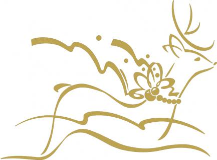 """Wandtattoo/ Dekorfolie mit Motiv """" fliegendes Rentier"""" Ø 90cm Länge max.100 cm, in 11 Farben WD0802 gold"""