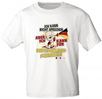 Kinder T-Shirt mit Aufdruck - ... für Deutschland schreien - 08116 - weiß - Gr. 122/128