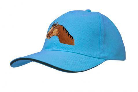 Cap mit gr. Pferde - Stick - Pferdekopf - 69243-2 türkis - Baumwollcap Baseballcap Hut Cappy Schirmmütze