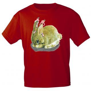 Kinder Marken-T-Shirt mit Motivdruck in 12 Farben Hase K12778 rot / 152/164