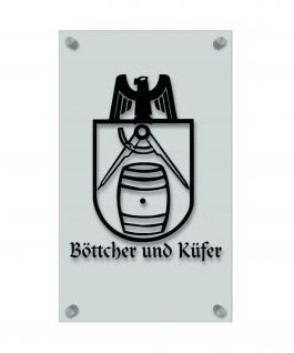 Zunft- Schild - Handwerker-Zeichen - edle Acryl-Kunststoff-Platte mit Beschriftung - Böttcher und Küfer - in gold, silber, schwarz oder weiß - 309434 schwarz