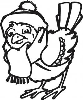 """(WD0817) Wandtattoo/ Dekorfolie mit Motiv """" Vogel mit Mütze und Schal"""" Ø 90cm Länge max.100 cm, in 11 Farben"""