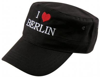Military - Cap mit Berlin - Stickerei - I love Berlin - 60516 schwarz weiss orange - Baumwollcap Baseballcap Hut Cappy Schirmmütze