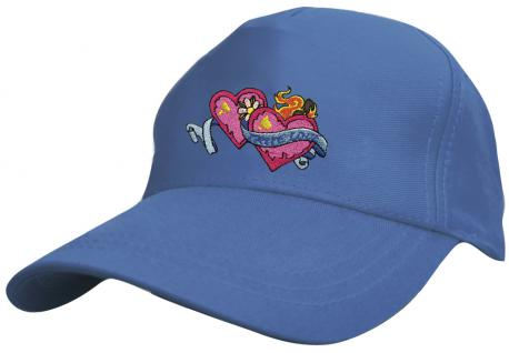 Kinder - Cap mit süssem Herzchen-Stick - Herzchen mit True Love ... wahre Liebe - 69131-3 blau - Baumwollcap Baseballcap Hut Cap Schirmmütze
