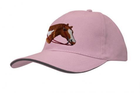 Cap mit gr. Pferde - Stick - Pferdekopf - 69242-3 rosa - Baumwollcap Baseballcap Hut Cappy Schirmmütze