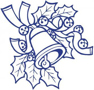 """Wandtattoo/ Dekorfolie mit Motiv """" Zweig mit Glocke"""" Ø 90cm Länge max. 100 cm, in 11 Farben WD0801 blau"""