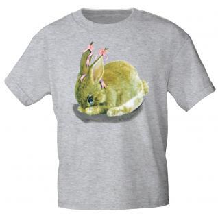Kinder Marken-T-Shirt mit Motivdruck in 12 Farben Hase K12778 122/128 / grau