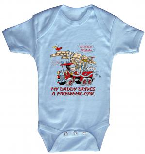 Babystrampler mit Print ? MY Daddy drives a firedepartment car - 08314 blau ? Gr. 0-6 Monate