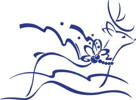 """Wandtattoo/ Dekorfolie mit Motiv """" fliegendes Rentier"""" Ø 90cm Länge max.100 cm, in 11 Farben WD0802 blau"""