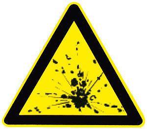 Warnschild - Explosionsgefährliche Stoffe - 308811 - Schenkellänge 22cm - Kunststoff