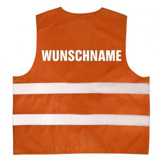 """Kinder Warnweste in 4 Farben mit Aufdruck """" Wunschname"""" 11704 Orange"""