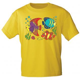 Kinder Marken-T-Shirt mit Motivdruck in 12 Farben Fische K12779 gelb / 86/92