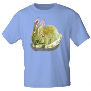 Kinder Marken-T-Shirt mit Motivdruck in 12 Farben Hase K12778 hellblau / 122/128