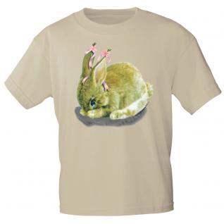 Kinder Marken-T-Shirt mit Motivdruck in 12 Farben Hase K12778 134/146 / beige